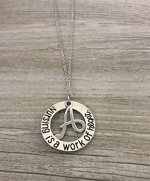 Personalized Nursing is a Work of Heart Necklace - Infinity Collection