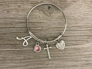 Personalized Christian Cross Bracelet with Birthstone & Letter Charm, Handmade Custom Love Cross Charm Jewelry, Makes the Perfect Baptism & Christening Gift for Girls