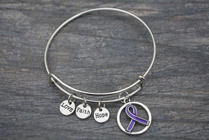 Purple Ribbon Bracelet, Pancreatic Cancer Bracelet, Purple Ribbon Awareness Bracelet, Makes the Perfect Gift