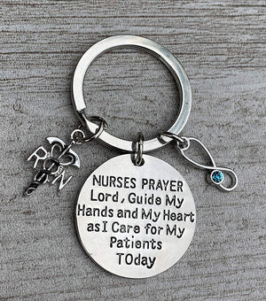 Personalized RN Keychain with Birthstone Charm, Custom Nursing Serenity Prayer Charm Jewelry, Registered Nurse Gift - Infinity Collection