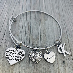 Personalized Good Friends Never Say Goodbye Bangle Bracelet- Friend Jewelry- Gift for Friends