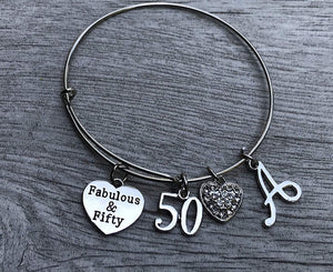 Personalized 50th Birthday Bangle Bracelet with Letter Charm, Fabulous and Fifty Bracelet - Infinity Collection