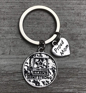 US Proud Army Mom Keychain, Custom Military Army Strong Key Ring Gift for Moms