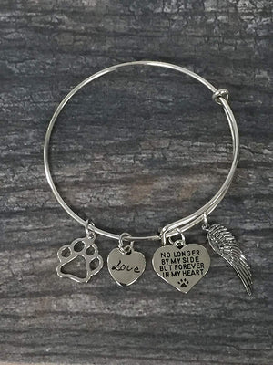 Dog Memorial Jewelry, Dog Charm Bracelet - Paw Print Jewelry- Dog Lovers Bracelet- Dog Owner Bangle -Perfect Gift for Dog Lovers - Infinity Collection