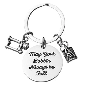 Sewing Keychain, May Your Bobbin Always Be Full Sewing Jewelry- Women's Sewing Gift for Quilters or Sewers