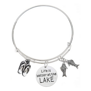 Life is Better at the Lake Bracelet, Lake Jewelry, Gift for Her - Infinity Collection