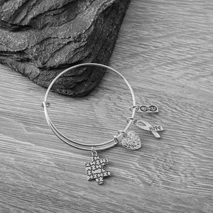 Autism Bangle Bracelet, Autism Awareness Jewelry, Autism Puzzle Piece, Hope Charm Bracelet - Infinity Collection