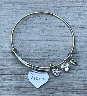 Personalized Graduation Senior Bangle Bracelet-Graduation Gift, Perfect Gift for Graduates, 2018 Edition