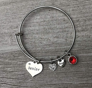 Personalized Graduation Senior Bangle Bracelet with Birthstone Charm - Infinity Collection