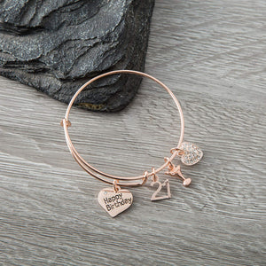 21st Birthday Gifts for Her, Rose Gold 21st Birthday Expandable Charm Bracelet, Adjustable Bangle, Perfect 21st Birthday Gift Ideas - Infinity Collection