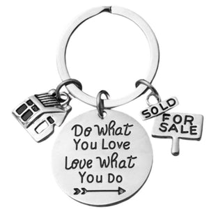 Realtor keychain, Real Estate Broker Gift, Do What You Love, Love What You Do Charm Jewelry Gift, House keychain, Realtor Gift for Men & Women