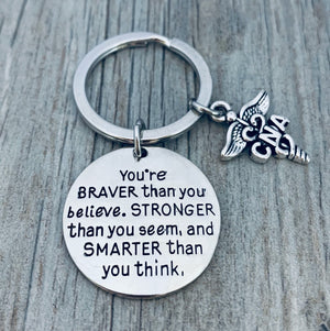 Nurse Keychain - Braver Than You Believe - Pick Charm - Infinity Collection