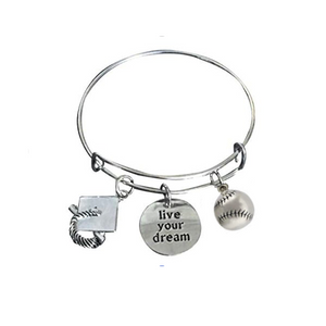 Softball Graduation Live Your Dream Bangle Bracelet - Infinity Collection