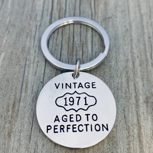 50th Birthday Keychain, Vintage 1971 Aged to Perfection Keychain