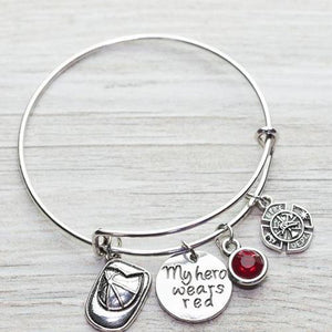 Firefighter Bangle Bracelet - My Hero Wears Red - Infinity Collection