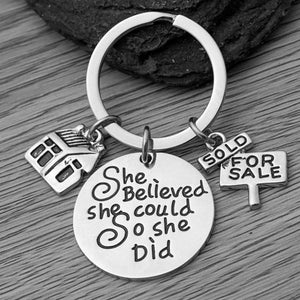 Realtor Keychain, She Believed She Could So She Did Real Estate Broker Gift, House keychain, Realtor Gift for Women