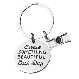 Photographer Keychain, Photography Gift, Create Something Beautiful Each Day Charm Keychain, Gifts for Photographers, Photography Lovers Gift