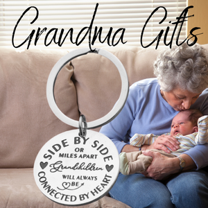 Grandparent Keychain - Side By Side or Miles Apart Grandchildren are Always Connected at Heart Gift