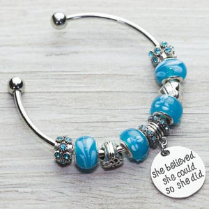 Nurse Beaded She Believe She Could So She Did Charm Bracelet - Infinity Collection
