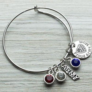 Proud Army Mom Charm Bangle Bracelet - Infinity Collection
