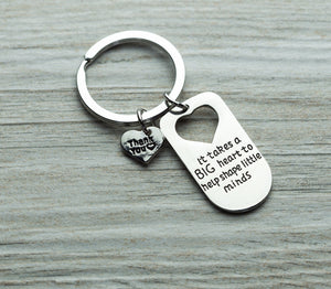 Teacher Big Heart Little Minds Keychain - Infinity Collection