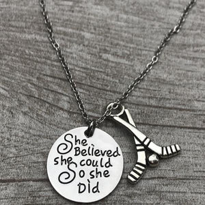 Hockey She Believed She Could So She Did Necklace - Infinity Collection
