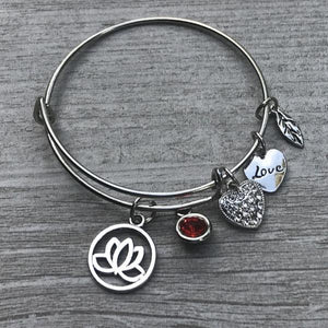 Personalized Yoga Bangle Bracelet with Birthstone - Infinity Collection