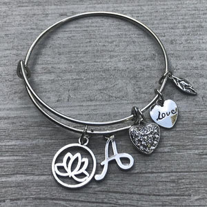 Personalized Yoga Bangle Bracelet with Initial - Infinity Collection