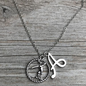 Personalized Girls Gymnastics Necklace with Letter Charm - Infinity Collection
