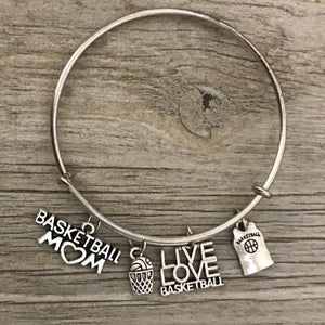 Basketball Mom Charm Bangle Bracelet - Infinity Collection