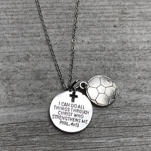 Soccer I Can Do All Things Through Christ Who Strengthens Me Phil. 4:13 Necklace - Infinity Collection