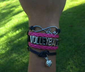 Volleyball Infinity Bracelet - Pink - Infinity Collection