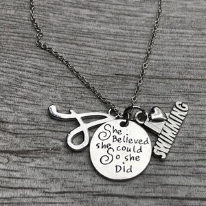 Personalized Swim She Did Necklace with Letter Charm - Infinity Collection