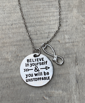 Medical Stethoscope Necklace - Believe In Yourself & You will Be Unstoppable - Infinity Collection