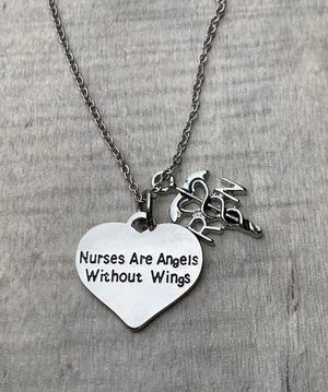 RN Necklace - Nurses are Angels Without Wings - Infinity Collection