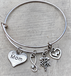 Mom Nurse Charm Bangle Bracelet - Infinity Collection