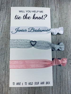 Junior Bridesmaid Gifts, Pink Bridesmaid Hair Ties