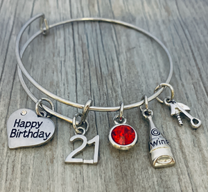 Personalized 21st Birthday Bracelet, Wine Birthday Expandable Charm Bracelet - Infinity Collection