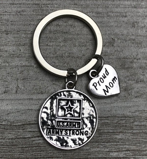 Proud Army Mom Strong Heart Keychain - Infinity Collection