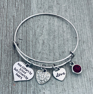 Personalized Best Friend Birthstone Charm Bracelet- Not Sisters By Blood But Sisters By Heart Bracelet for Women- Friend Jewelry- Perfect Gift for Her - Infinity Collection