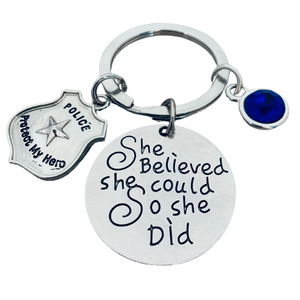 womens Police Keychain- She Believed She Could So She Did