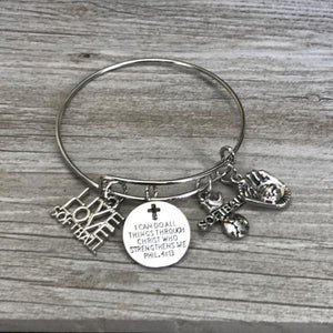Softball I Can Do All Things Through Christ Who Strengthens Me Phil. 4:13 Bangle Bracelet - Infinity Collection