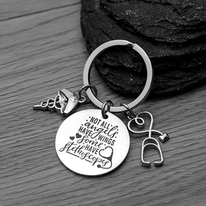 Nurse Keychain, Not All Angels Have Wings Some Have Stethoscopes - Infinity Collection