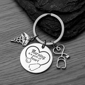 Nurse Keychain - Nursing is a Work of Heart - Infinity Collection