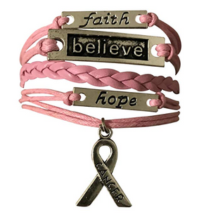 Breast Cancer Bracelet, Cancer Believe, Faith, and Hope Bracelet,Cancer Awareness, Pink Ribbon, Cancer Survivor Gift - Infinity Collection