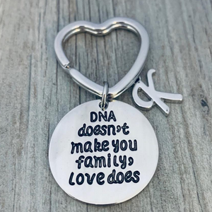 Personalized DNA Doesn't Make You Family Love Does Keychain, Custom Unisex Step Parent, Step Child, Friend Gift