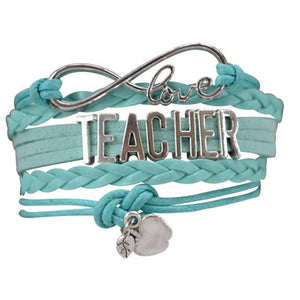 Teacher Infinity Bracelet - Teal - Infinity Collection