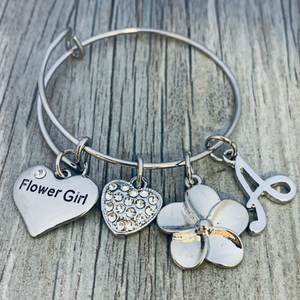 Personalized Flower Girl Charm Bangle Bracelet, Customized Flower Girl Jewelry- -Makes the Perfect Wedding Party Gift For Flower Girls - Infinity Collection