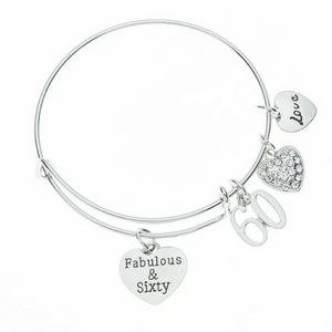 60th Birthday Charm Bracelet, Women's Fabulous and Sixty Bracelet - Infinity Collection