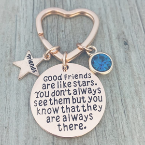 Personalized Best Friends Birthstone Charm Keychain- Rose Gold Custom Good Friends are Like Stars Key chain- Friend Jewelry for Women- Perfect Gift for Her - Infinity Collection